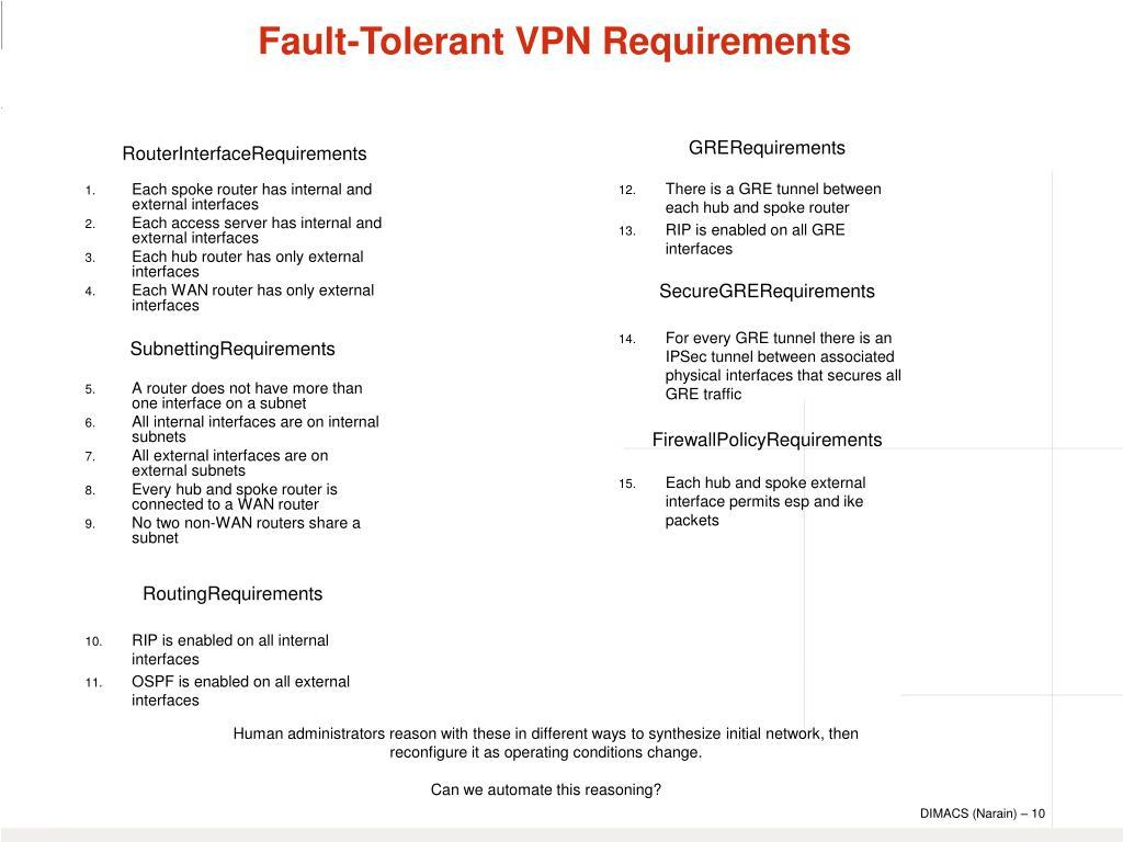 Fault-Tolerant VPN Requirements