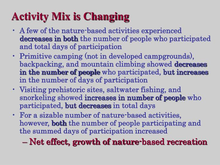 Activity Mix is Changing