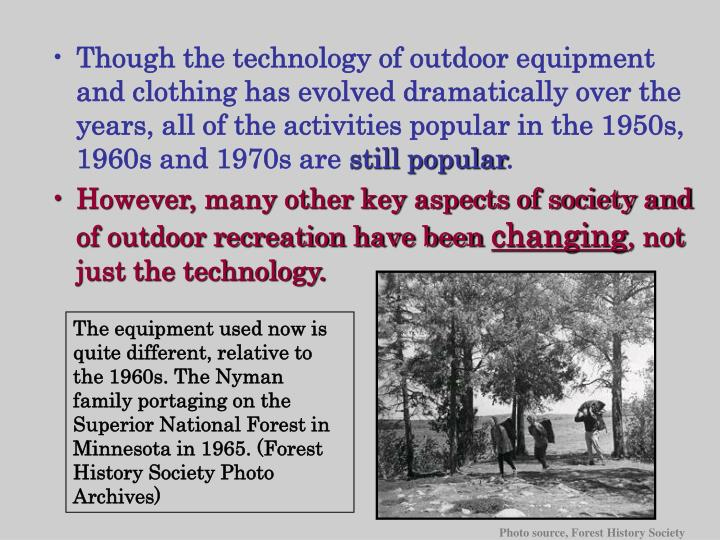 Though the technology of outdoor equipment and clothing has evolved dramatically over the years, all of the activities popular in the 1950s, 1960s and 1970s are