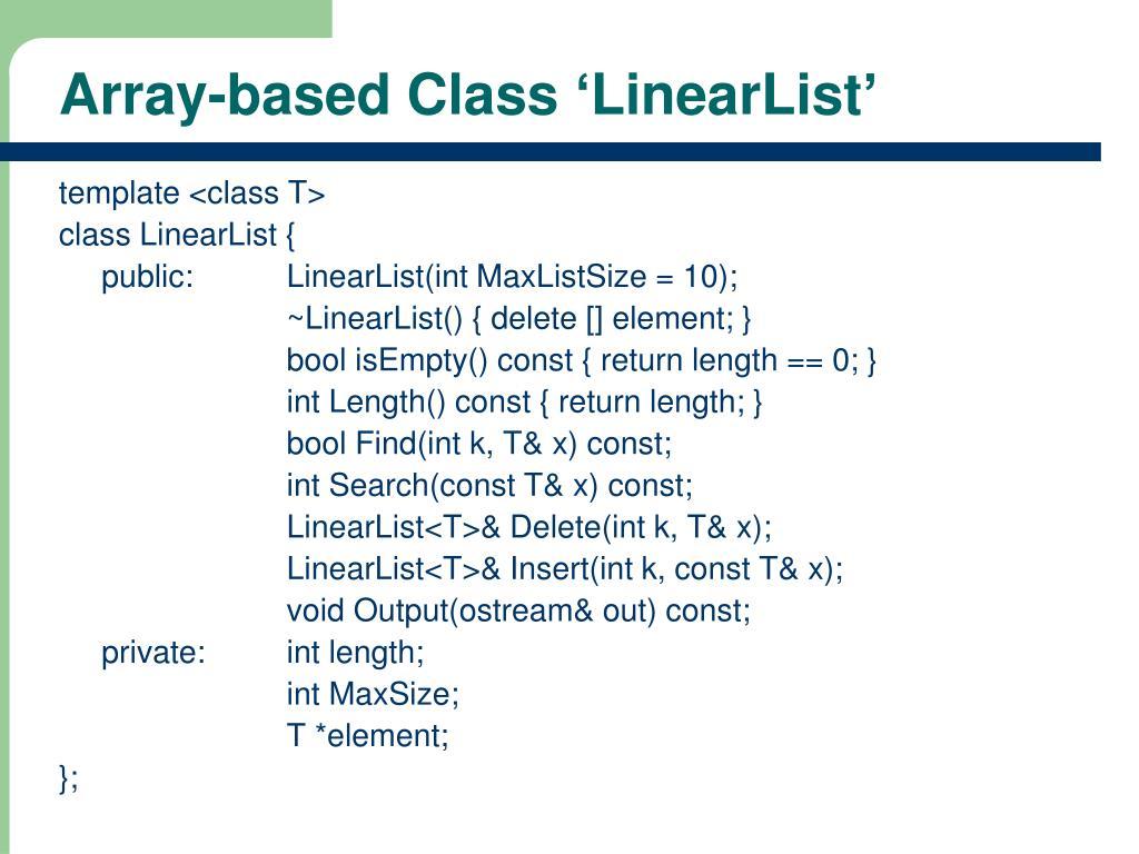 Array-based Class 'LinearList'