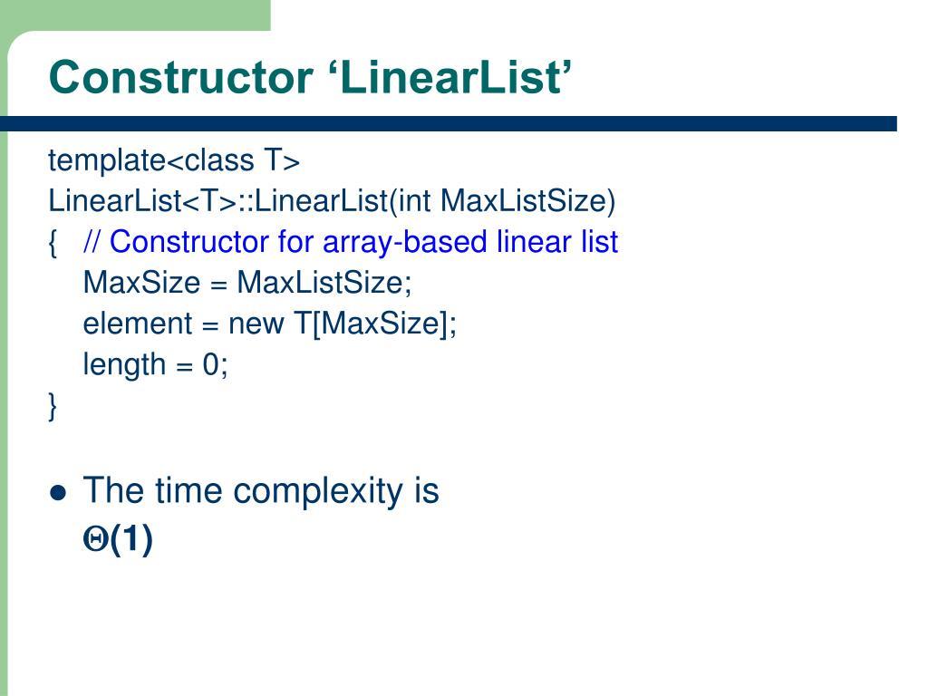 Constructor 'LinearList'