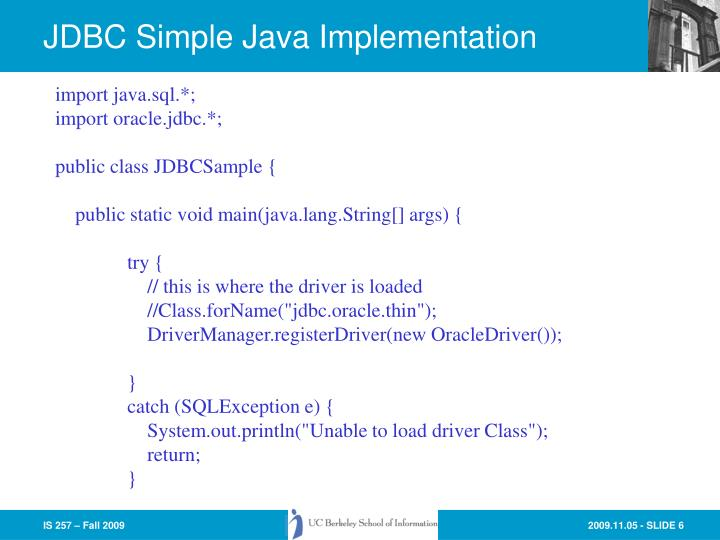 JDBC Simple Java Implementation