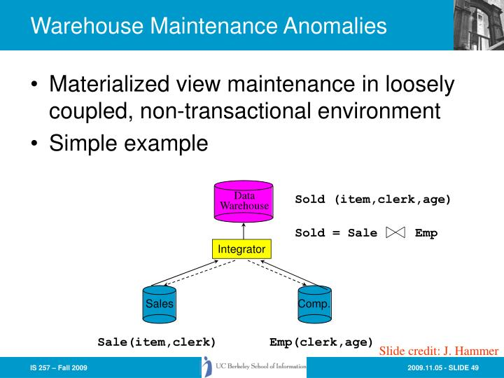 Warehouse Maintenance Anomalies