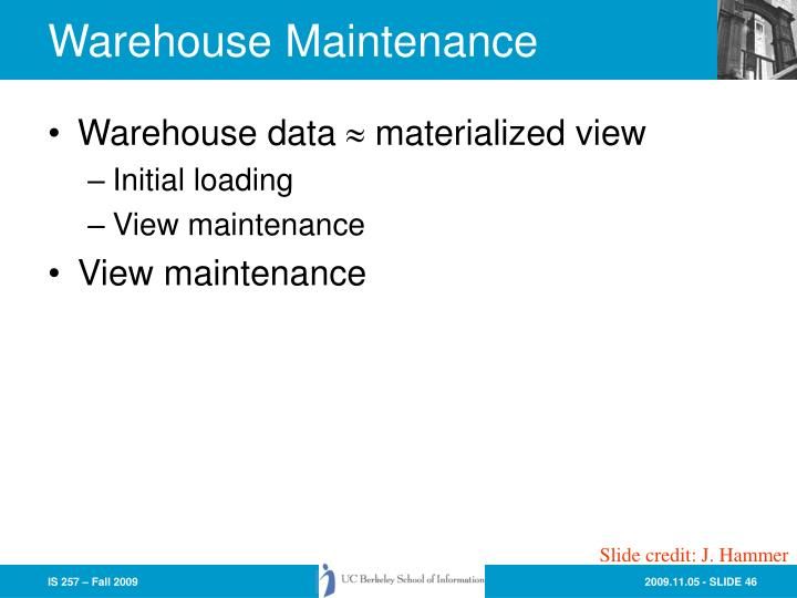 Warehouse Maintenance