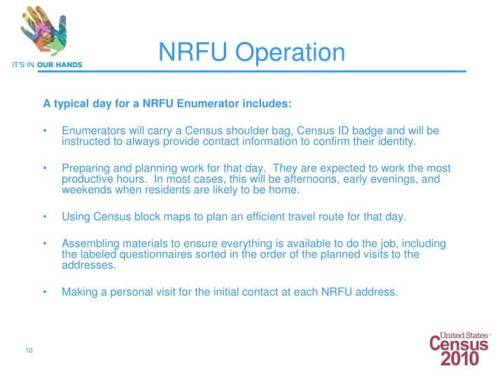 A typical day for a NRFU Enumerator includes:
