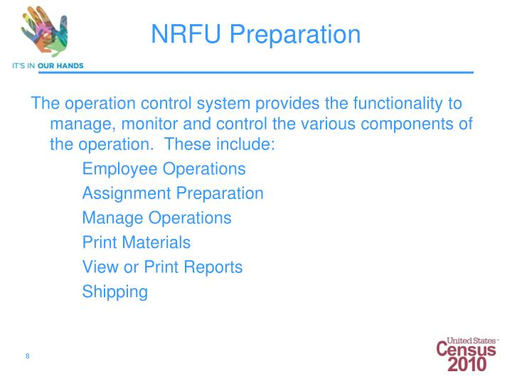 The operation control system provides the functionality to manage, monitor and control the various components of the operation.  These include: