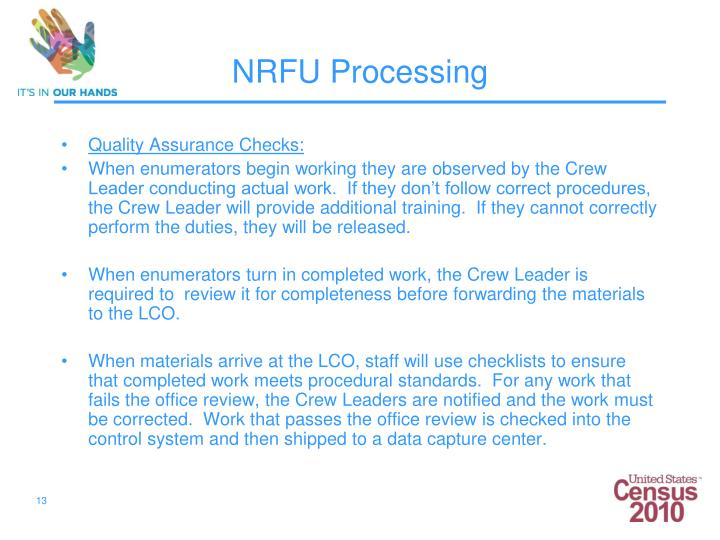 Quality Assurance Checks: