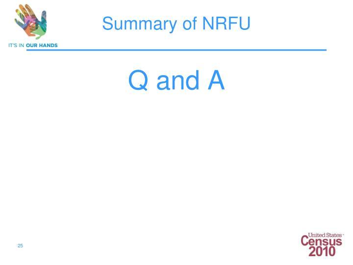 Summary of NRFU