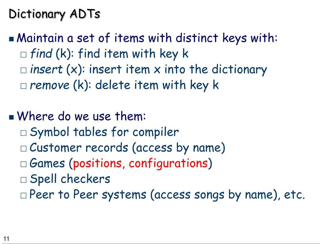 Dictionary ADTs