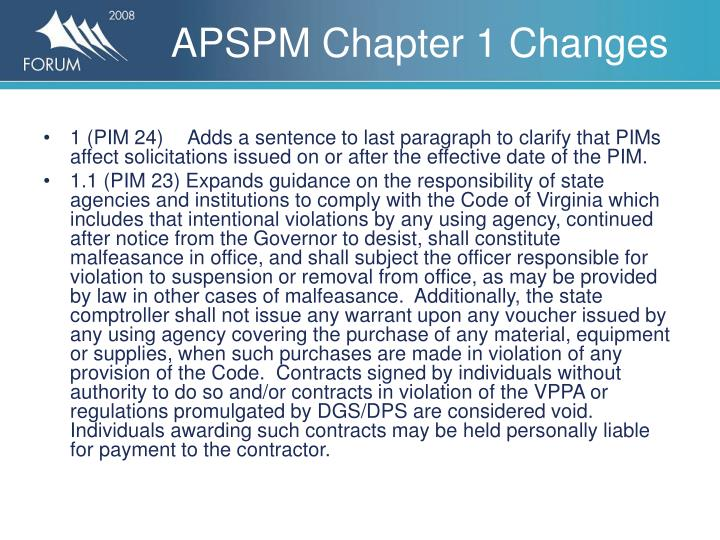 Apspm chapter 1 changes