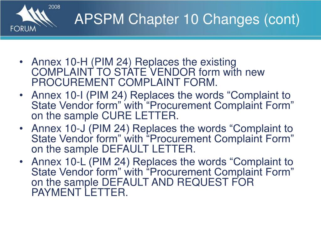 APSPM Chapter 10 Changes (cont)