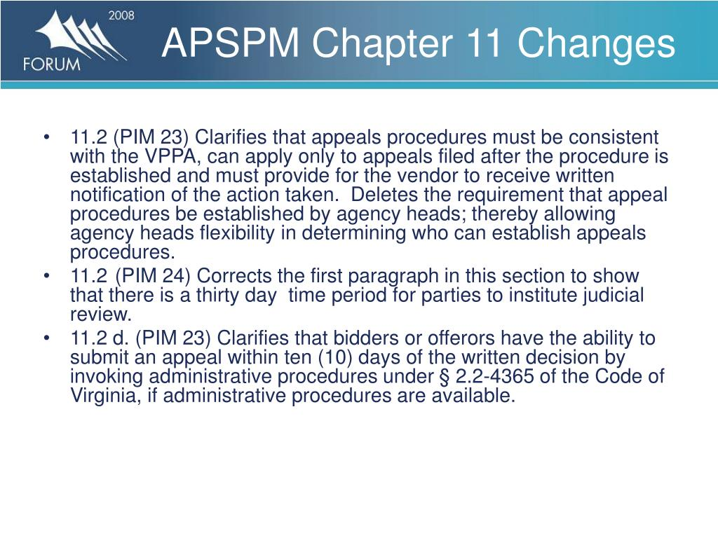 APSPM Chapter 11 Changes