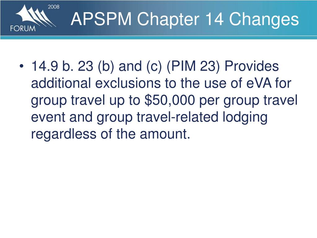 APSPM Chapter 14 Changes