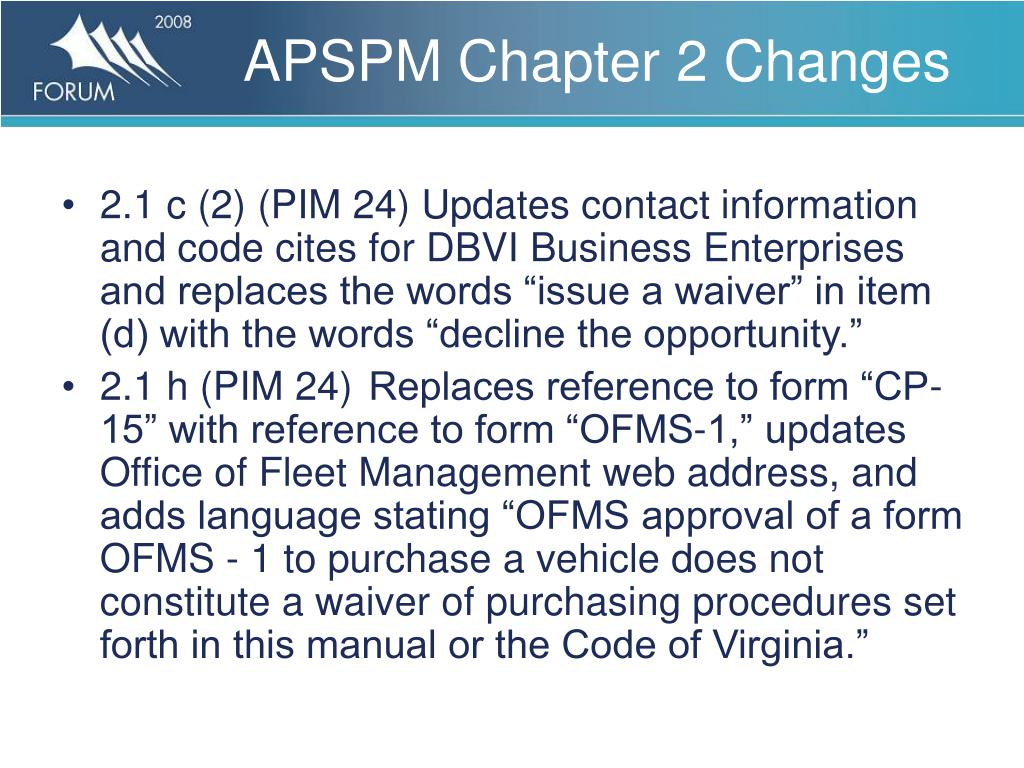 APSPM Chapter 2 Changes