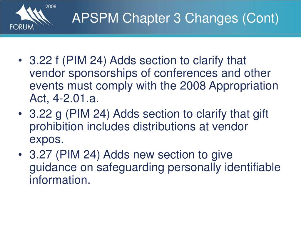 APSPM Chapter 3 Changes (Cont)