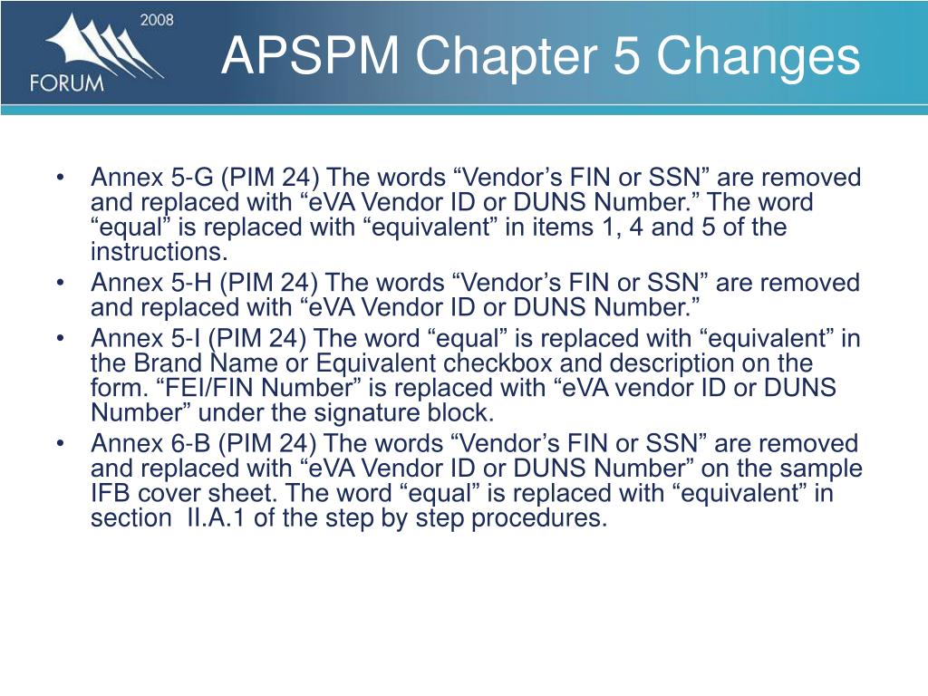 APSPM Chapter 5 Changes