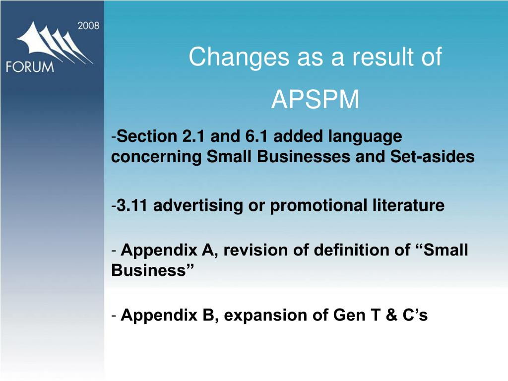 Changes as a result of  APSPM