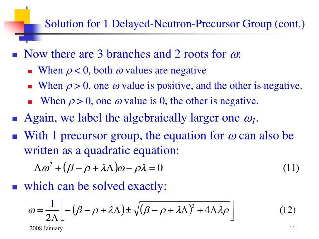 Solution for 1 Delayed-Neutron-Precursor Group (cont.)