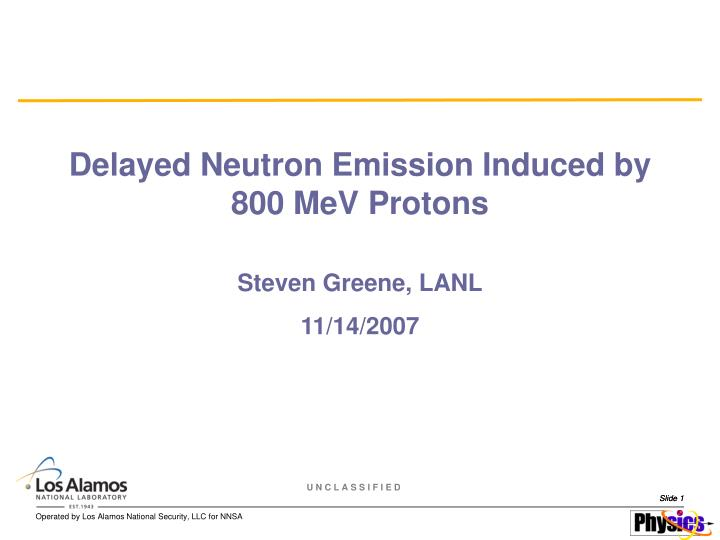 Delayed neutron emission induced by 800 mev protons