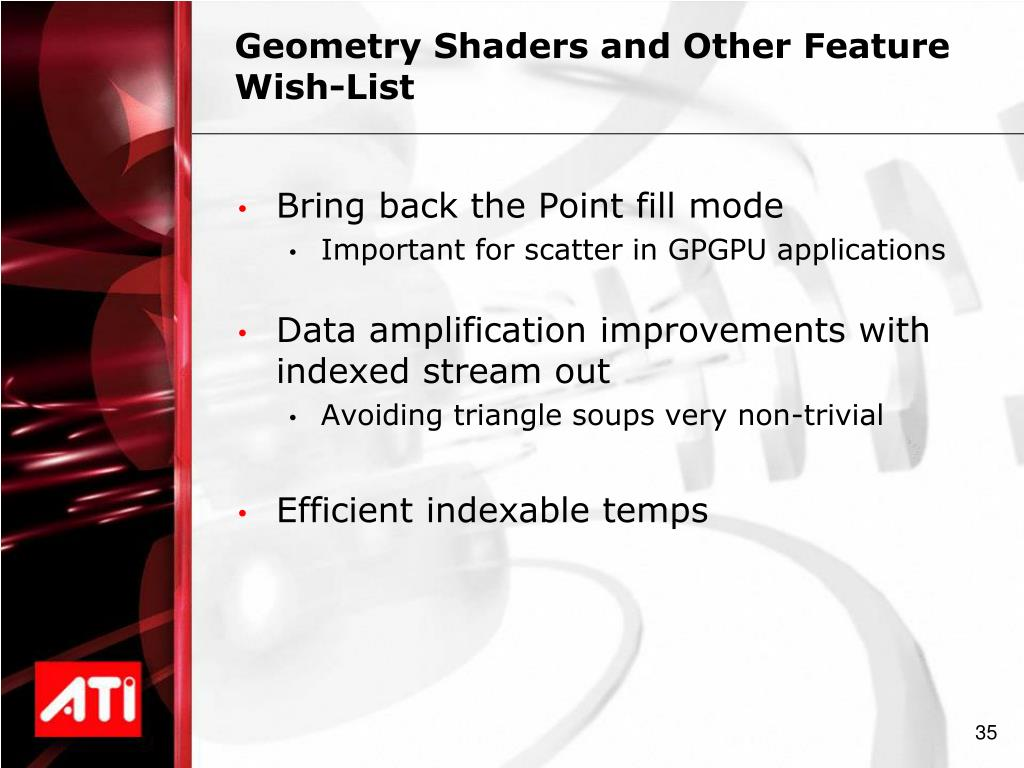Geometry Shaders and Other Feature Wish-List