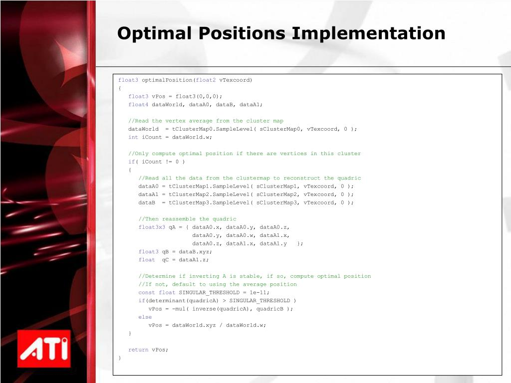 Optimal Positions Implementation