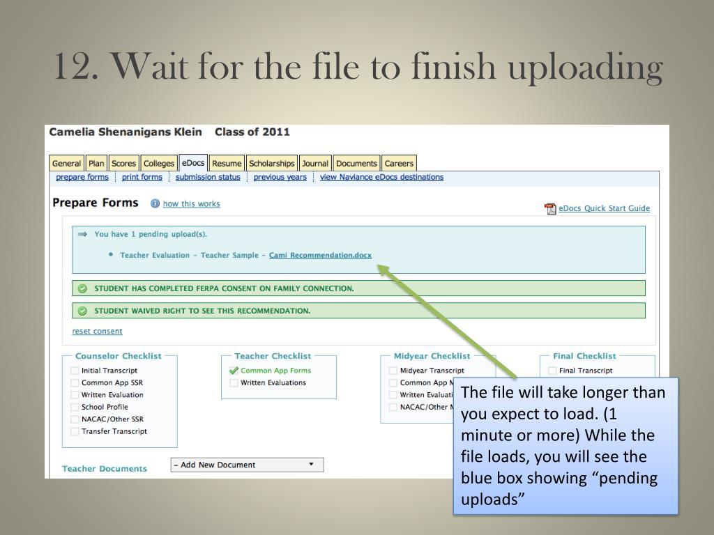 12. Wait for the file to finish uploading