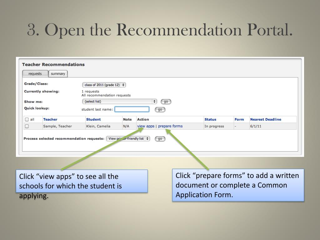 3. Open the Recommendation Portal.
