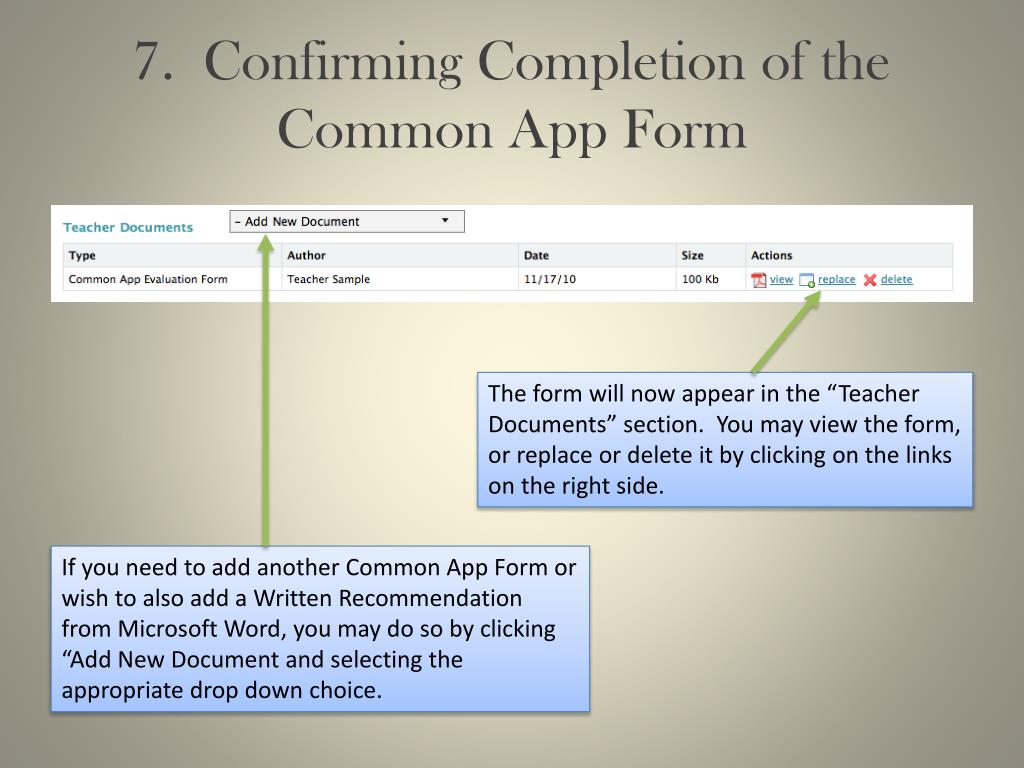 7.  Confirming Completion of the Common App Form