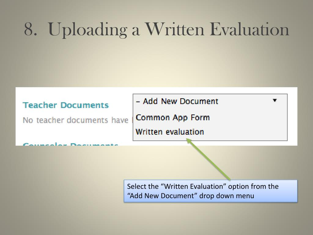 8.  Uploading a Written Evaluation