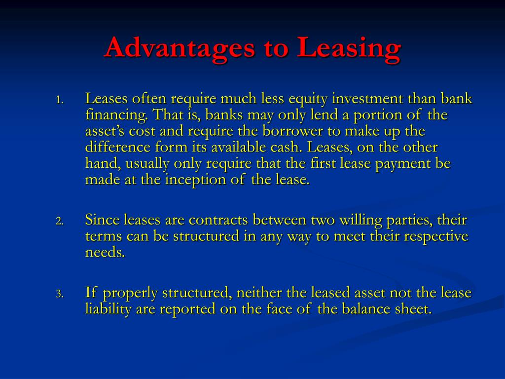 Advantages to Leasing