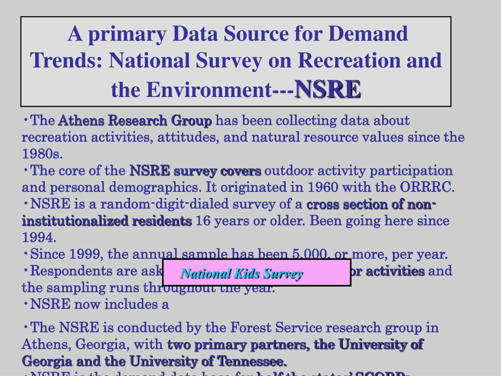 A primary Data Source for Demand Trends: National Survey on Recreation and the Environment---