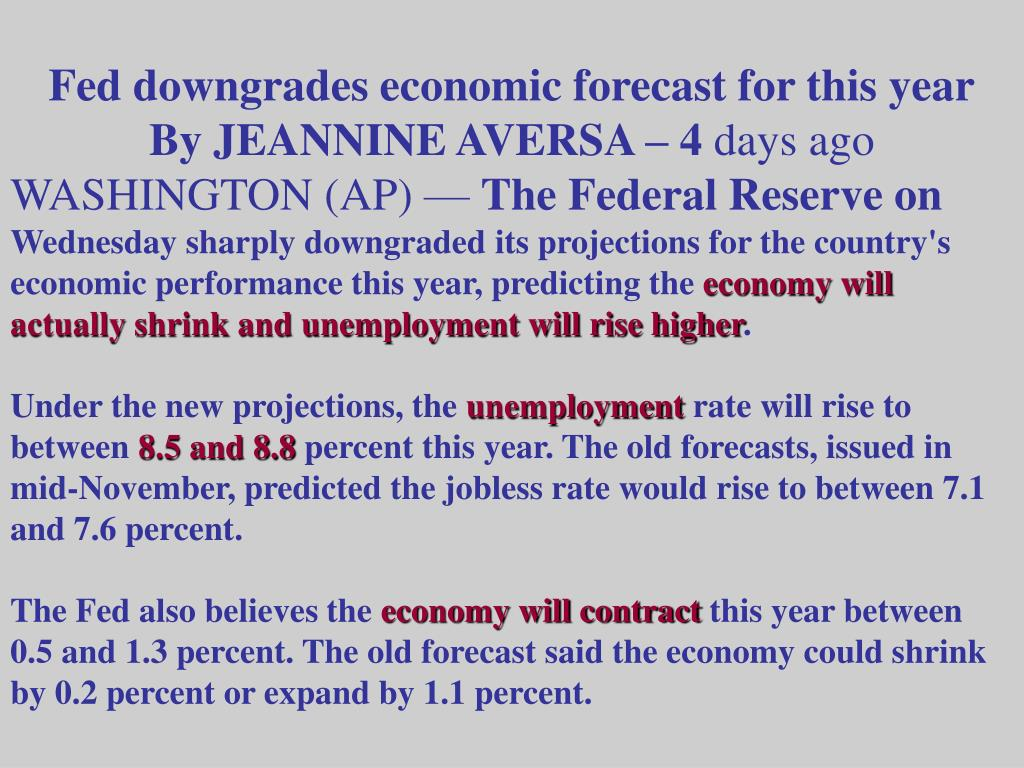 Fed downgrades economic forecast for this year