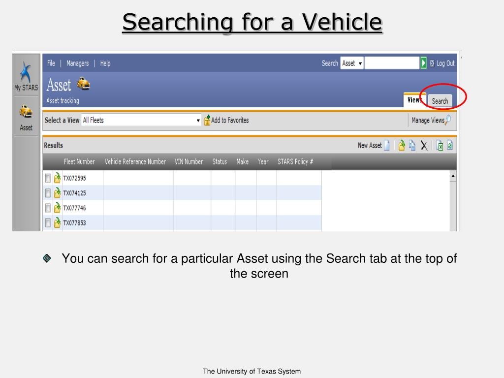 Searching for a Vehicle