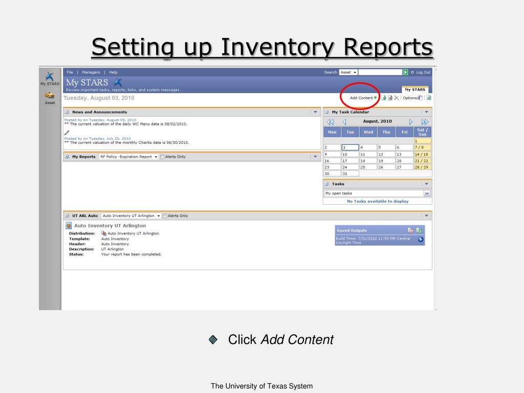 Setting up Inventory Reports