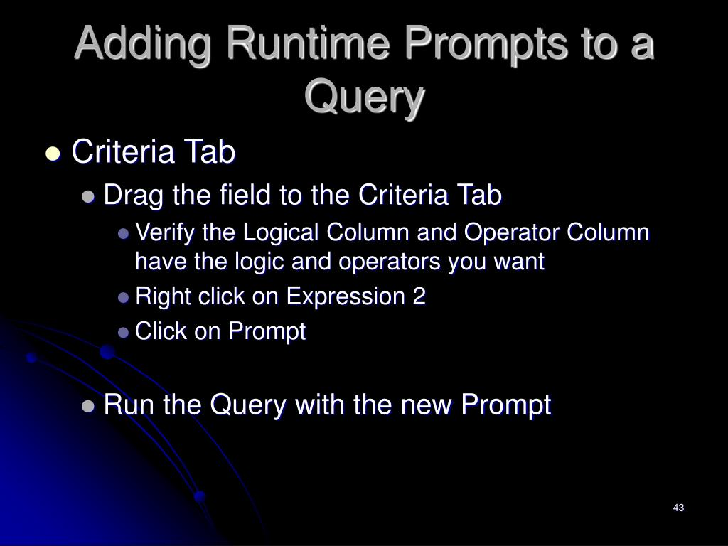 Adding Runtime Prompts to a Query