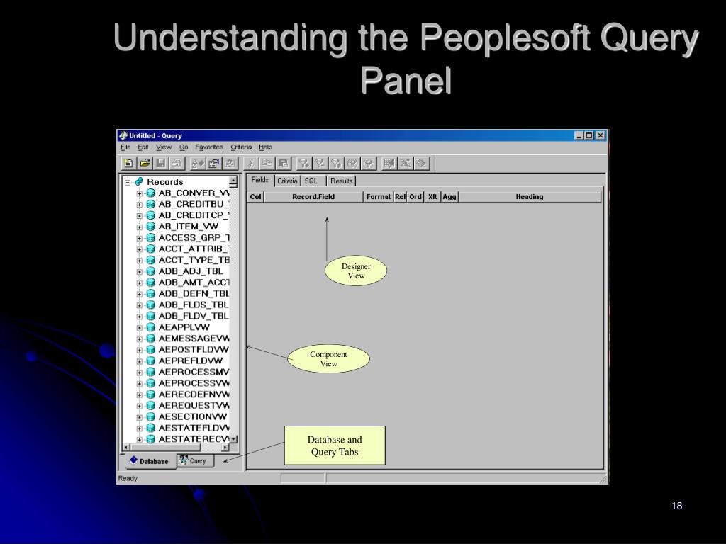 Understanding the Peoplesoft Query Panel