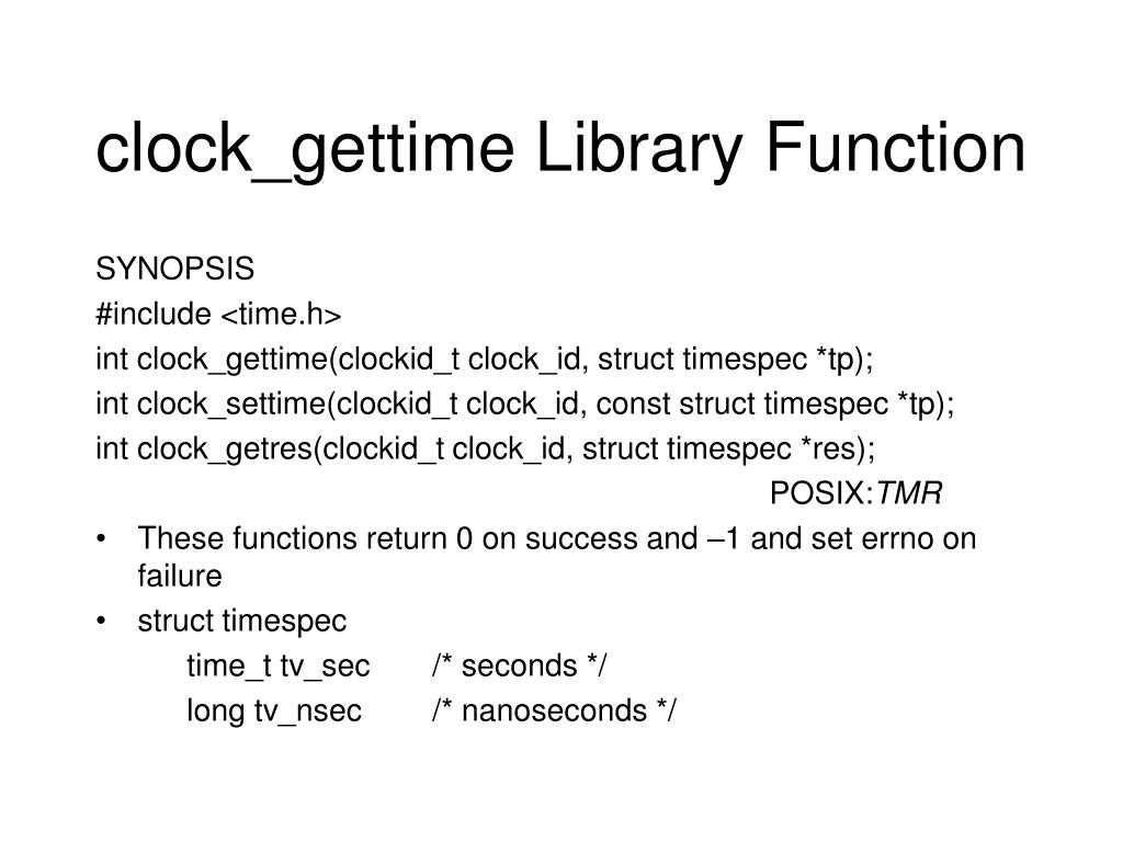 clock_gettime Library Function