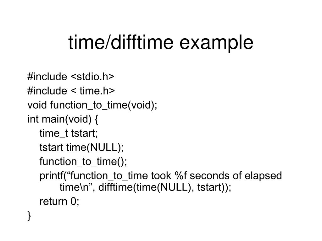 time/difftime example