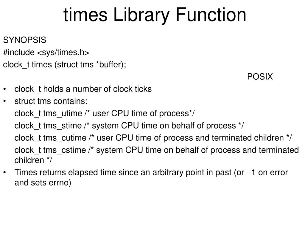 times Library Function