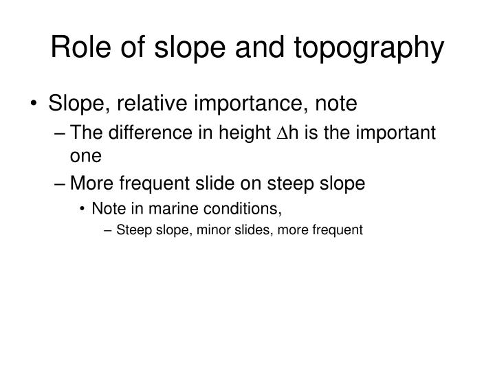 Role of slope and topography
