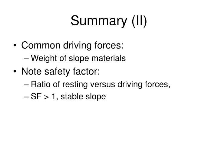 Summary (II)