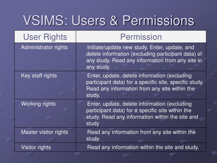 Vsims users permissions