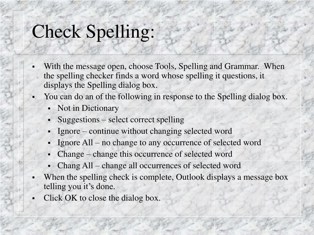 Check Spelling: