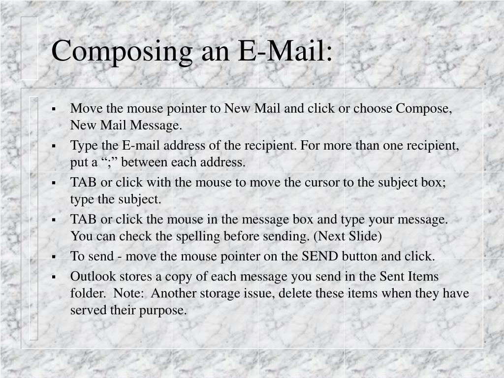 Composing an E-Mail: