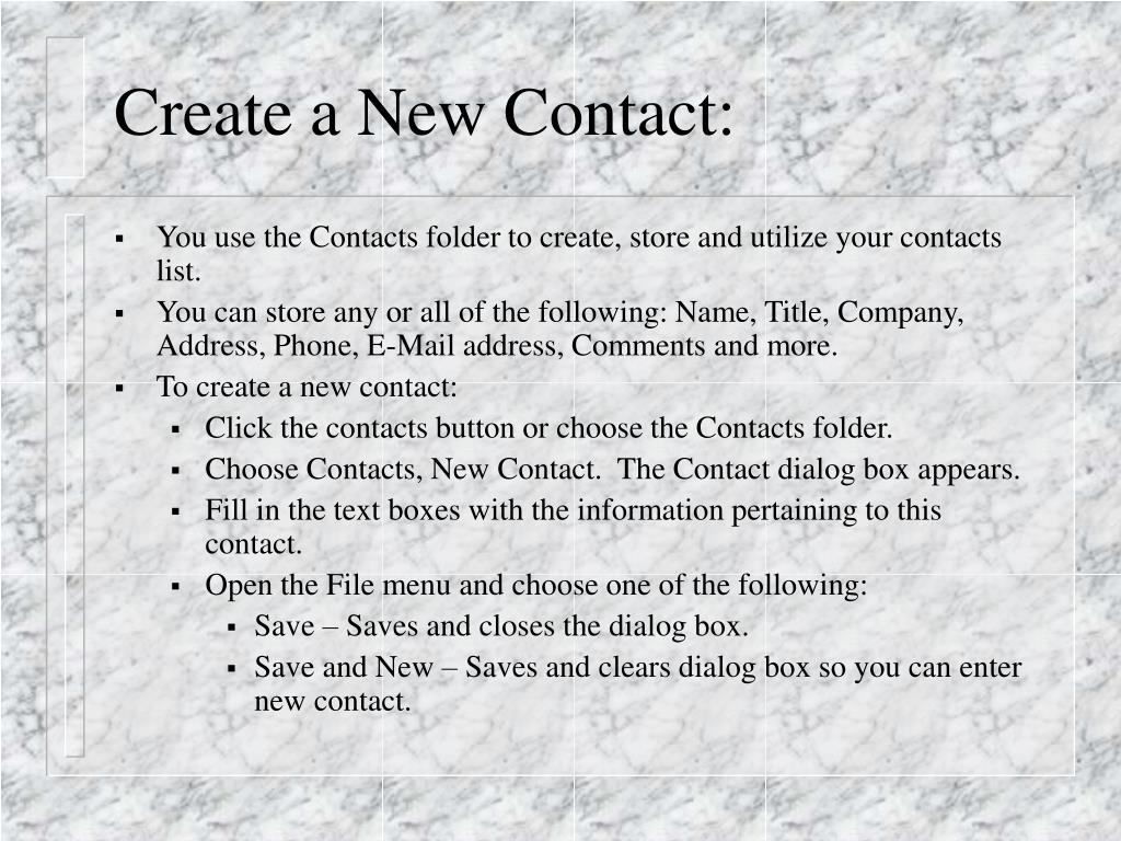 Create a New Contact:
