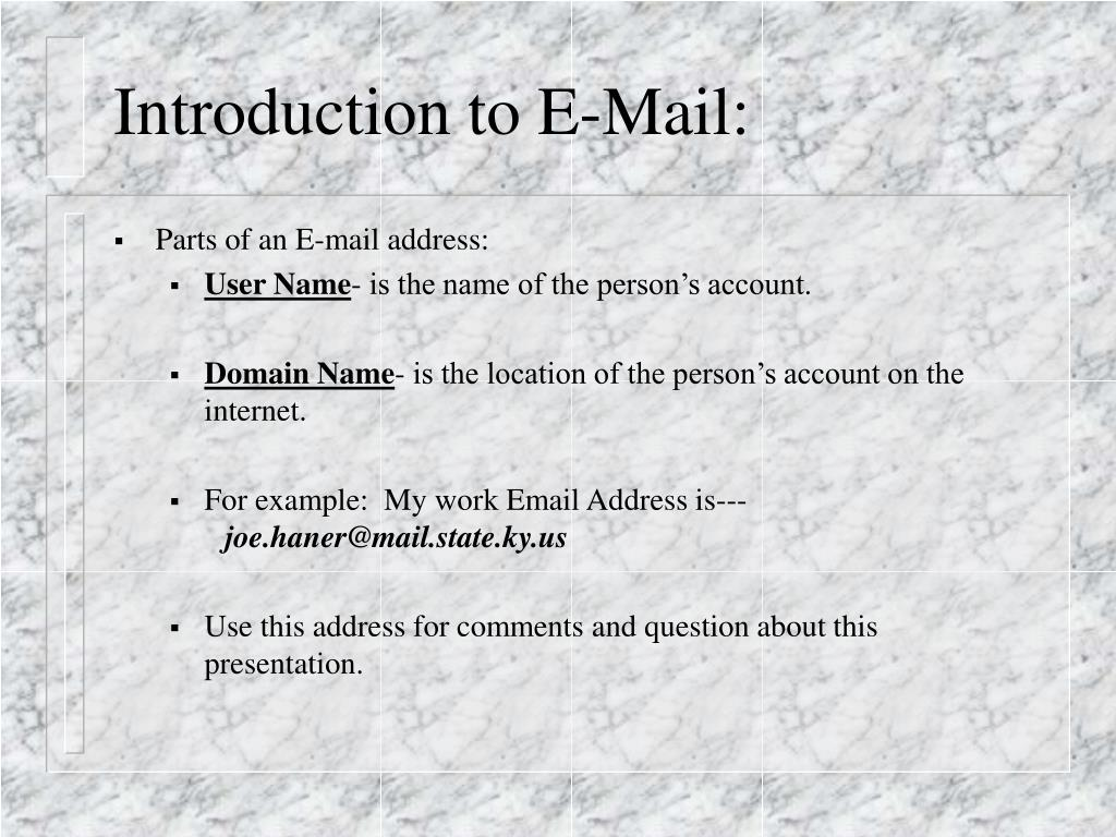 Introduction to E-Mail: