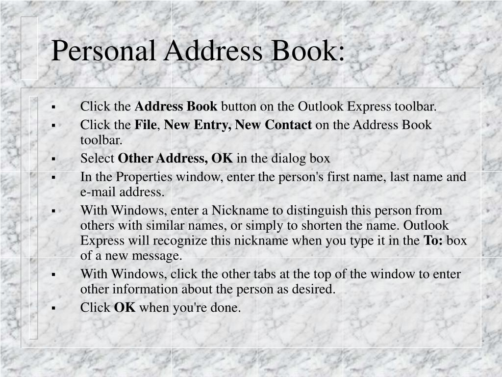 Personal Address Book: