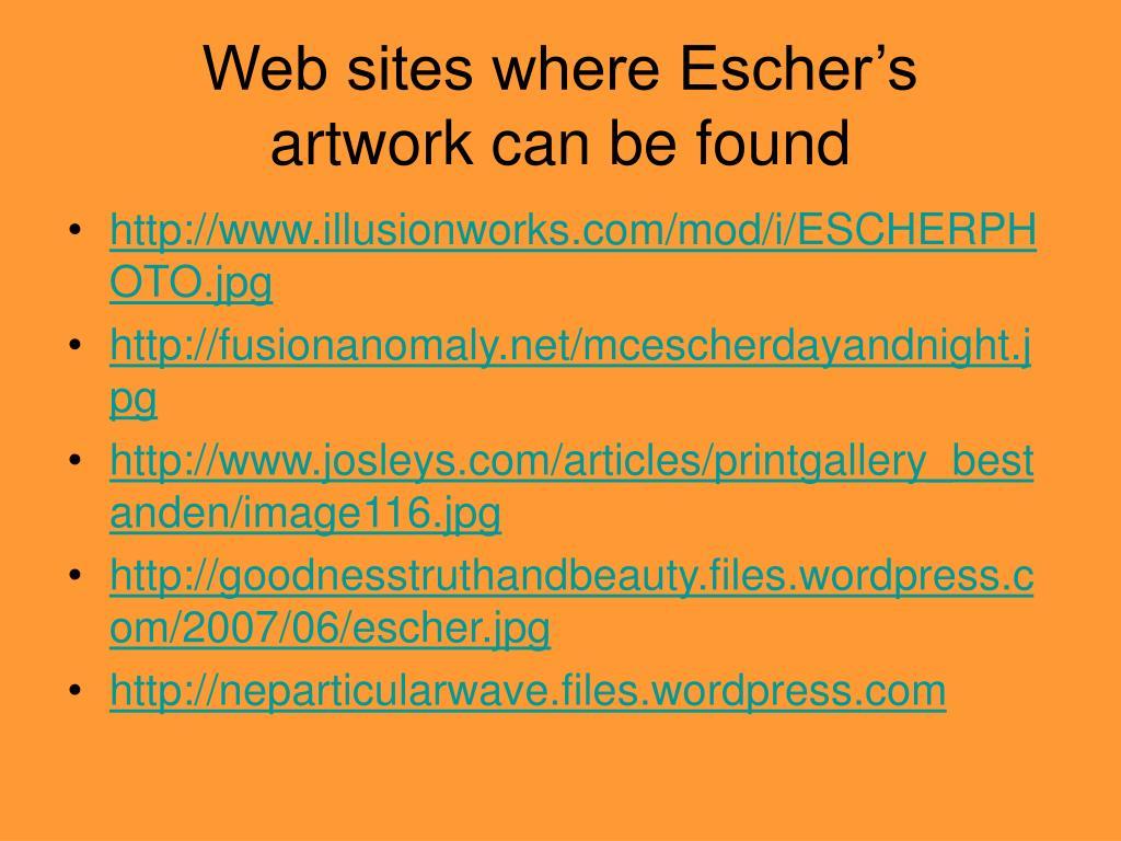 Web sites where Escher's