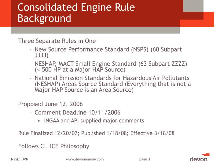 Consolidated Engine Rule Background
