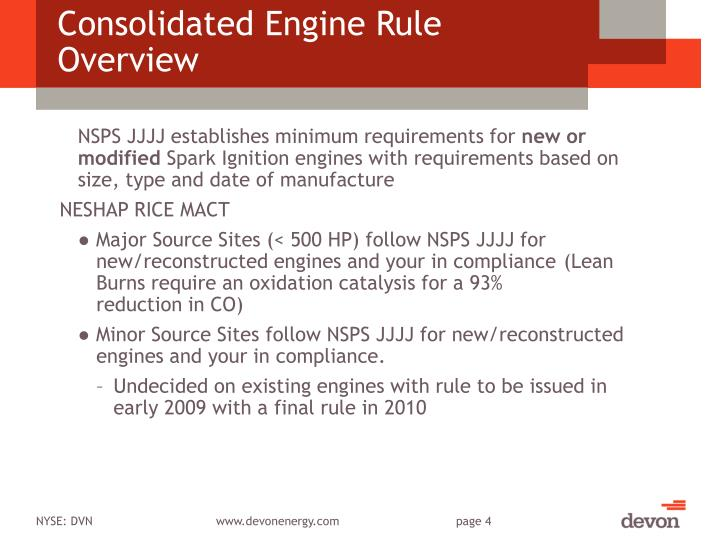Consolidated Engine Rule Overview